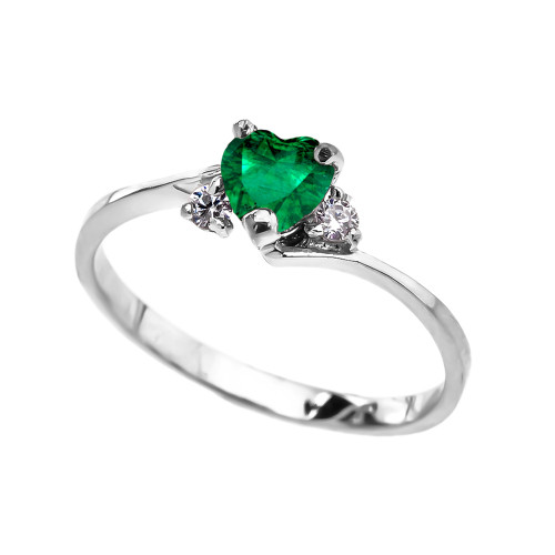 Dainty White Gold (LCE) Emerald Heart Promise Ring