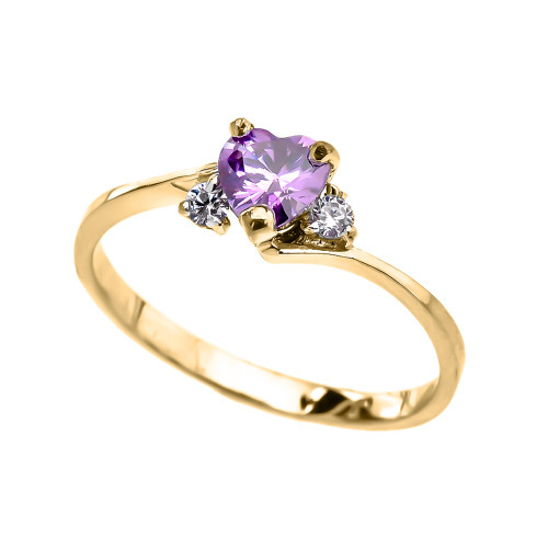 Dainty Yellow Gold CZ Alexandrite Heart Promise Ring