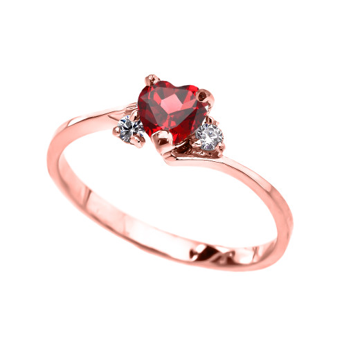 Dainty Rose Gold (LCR) Ruby And White Topaz Heart Promise Ring