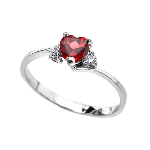 Dainty White Gold (LCR) Ruby And White Topaz Heart Promise Ring