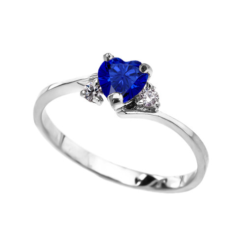 Dainty White Gold CZ Sapphire Heart Promise Ring