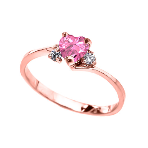Dainty Rose Gold Pink CZ Heart Promise Ring