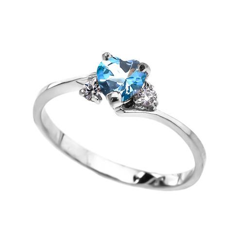 Dainty White Gold Blue Topaz CZ Heart Promise Ring