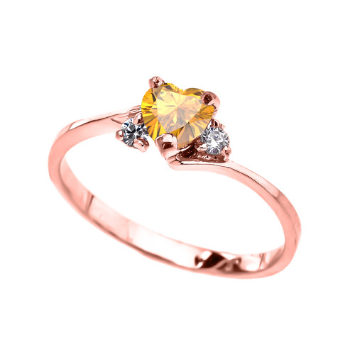 Dainty Rose Gold Citrine CZ Heart Promise Ring