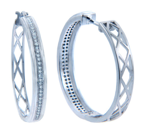 Earrings - Slim Diamonds and Weave Hoop Earrings