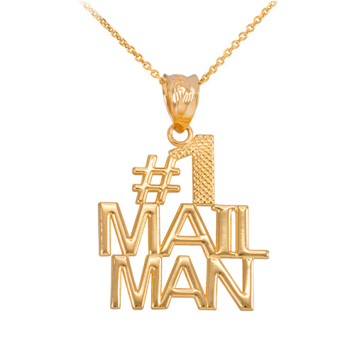 Yellow Gold Number 1 Mailman Pendant Necklace