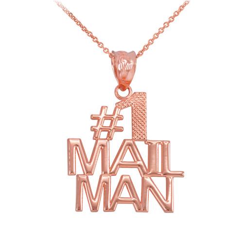 Rose Gold Number 1 Mailman Pendant Necklace