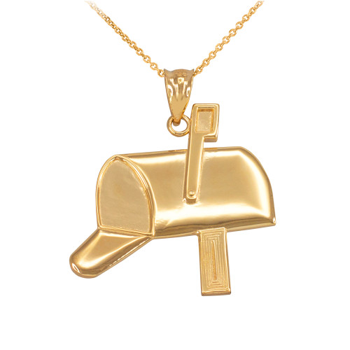 Yellow Gold Mailbox Pendant Necklace