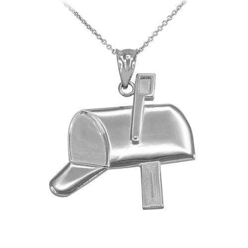 White Gold Mailbox Pendant Necklace