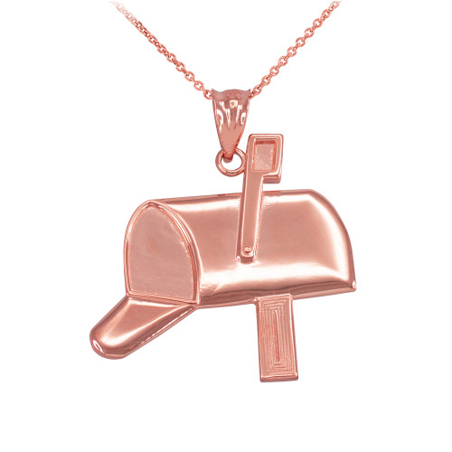 Rose Gold Mailbox Pendant Necklace