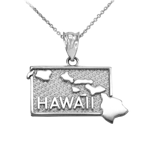 White Gold Hawaii State Map Pendant