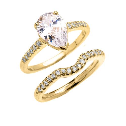 Yellow Gold Dainty Diamond Wedding Ring Set With 3 Carat Pear Shape Cubic Zirconia Center Stone