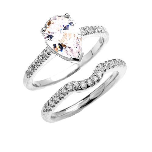 White Gold Dainty Diamond Wedding Ring Set With 3 Carat Pear Shape Cubic Zirconia Center Stone
