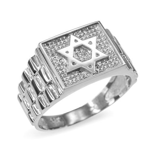 Sterling Silver Star of David Watchband Ring
