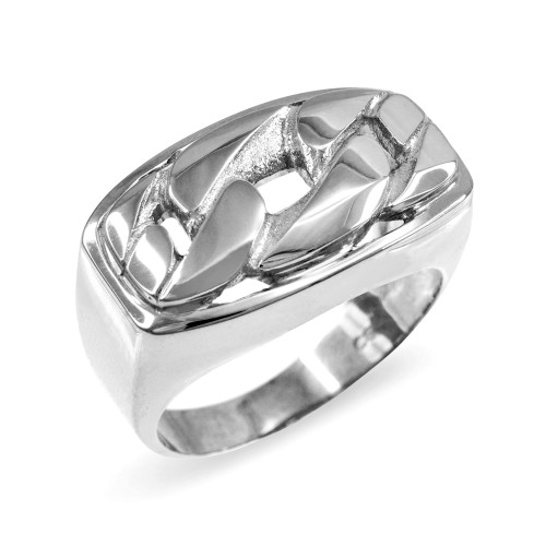 White Gold Cuban Link Statement Ring