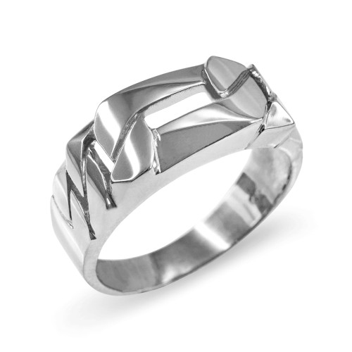 White Gold Figaro Link Chain Ring