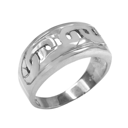 White Gold Mariner Link Pattern Ring