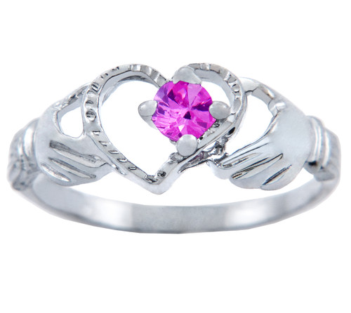 Silver Claddagh Heart Ring with Pink CZ Stone