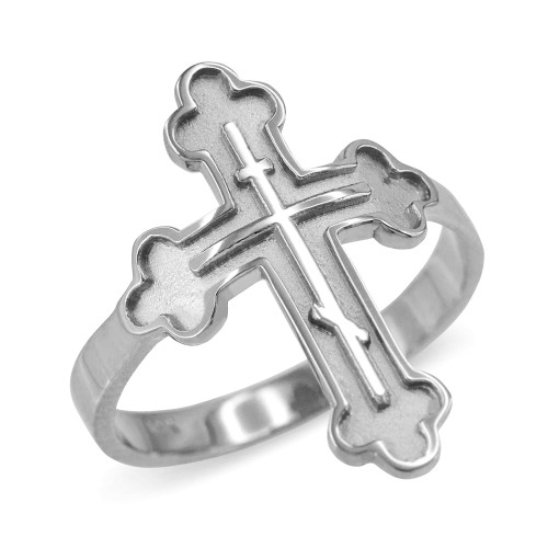 Russian Orthodox Cross Ring in White Gold