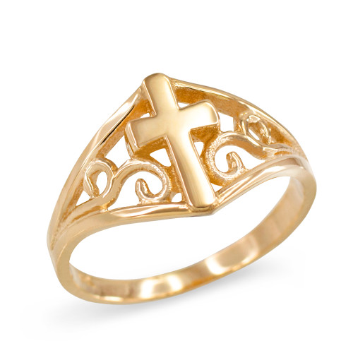 Cross Ring in Yellow Gold with Filigree Motif