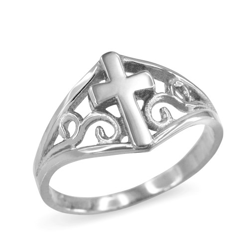 Cross Ring in White Gold with Filigree Motif