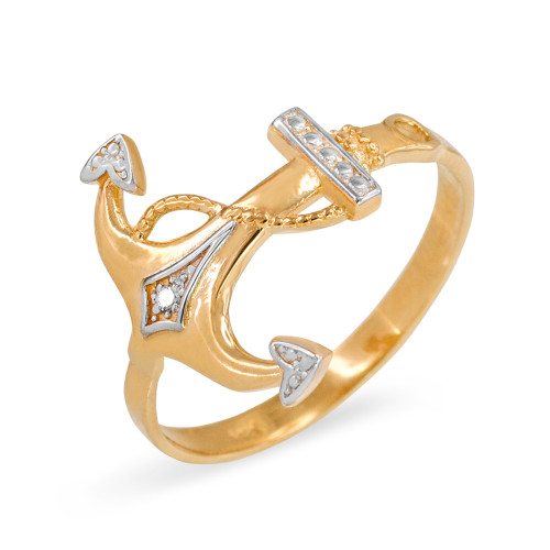 Two-Toned Gold Anchor Diamond Ring