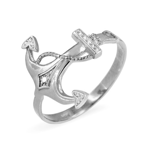 Sterling Silver Anchor CZ Ring