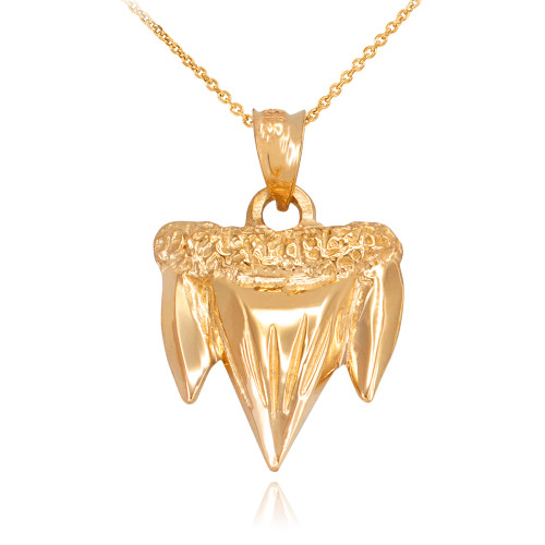 Yellow Gold Shark Tooth Pendant Necklace