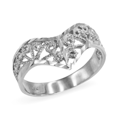 White Gold Chevron Filigree Diamond Cut Ring