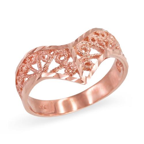Rose Gold Chevron Filigree Diamond Cut Ring