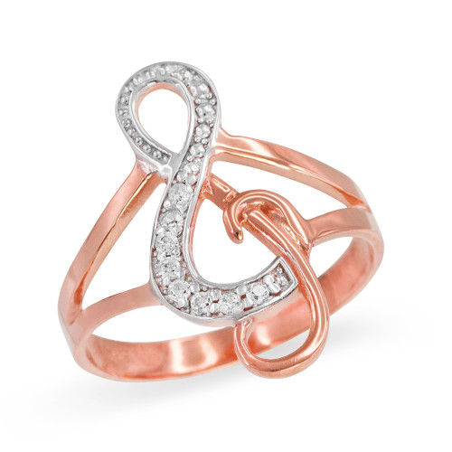Rose Gold Diamond Studded Treble Clef Music Ring