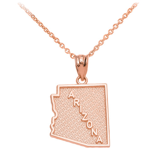 Rose Gold Arizona State Map Pendant Necklace