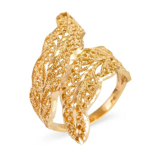Gold Diamond Cut Filigree Laurel Wreath Leaf Ring