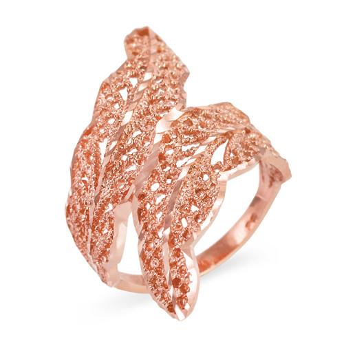 Rose Gold Diamond Cut Filigree Laurel Wreath Leaf Ring