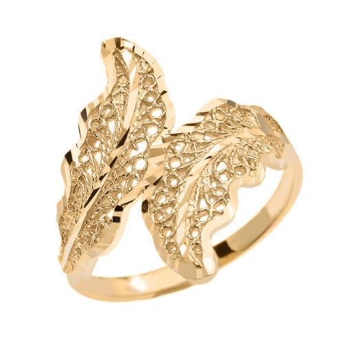 Gold Diamond Cut Filigree Wreath Leaf Ring