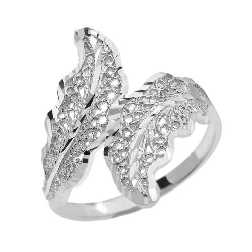 White Gold Diamond Cut Filigree Wreath Leaf Ring