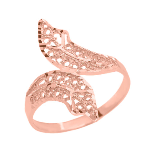 Rose Gold Diamond Cut Filigree Double Leaf Ring