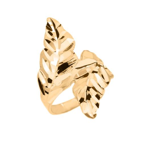 Gold Diamond Cut Double Laurel Wreath Ring