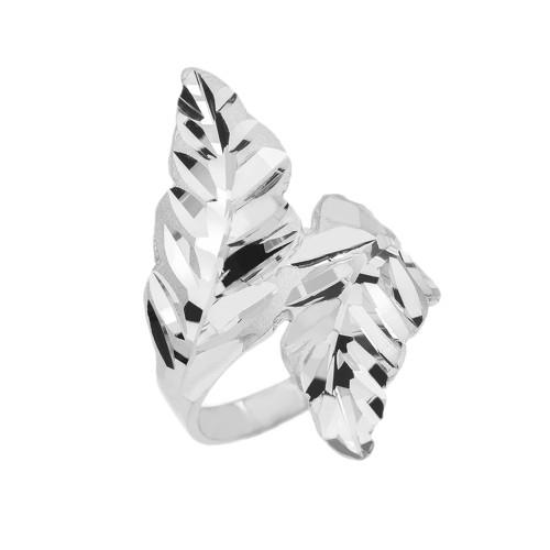White Gold Diamond Cut Double Laurel Wreath Ring