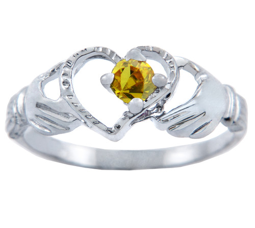 Silver Claddagh Heart Ring with Yellow CZ Stone