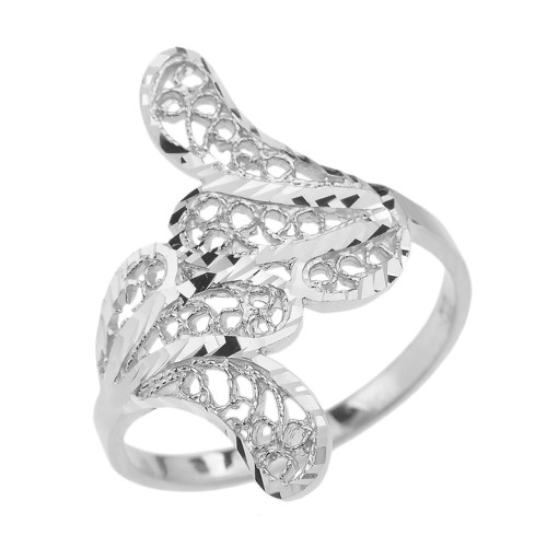 White Gold Diamond Cut Filigree Leaf Ring