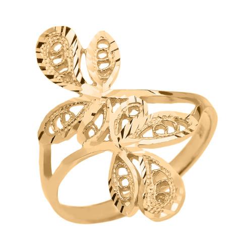 Gold Diamond Cut Filigree Wrap Leaves Ring