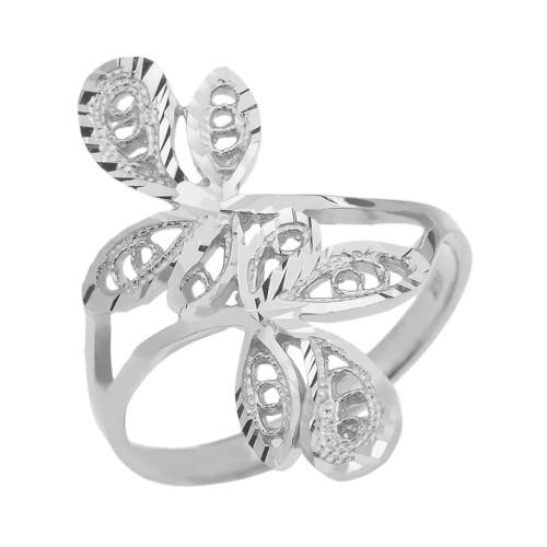 White Gold Diamond Cut Filigree Wrap Leaves Ring