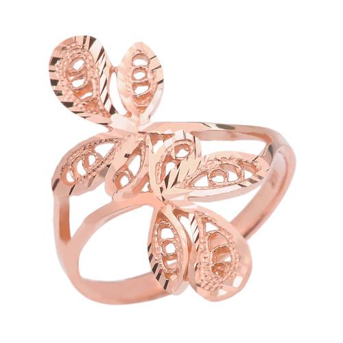 Rose Gold Diamond Cut Filigree Wrap Leaves Ring