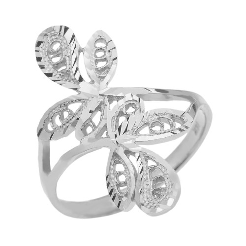 Sterling Silver Diamond Cut Filigree Wrap Leaves Ring