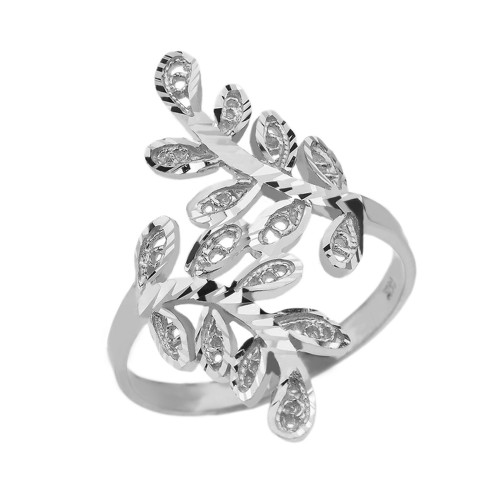 White Gold Diamond Cut Filigree Curved Laurel Wreath Ring