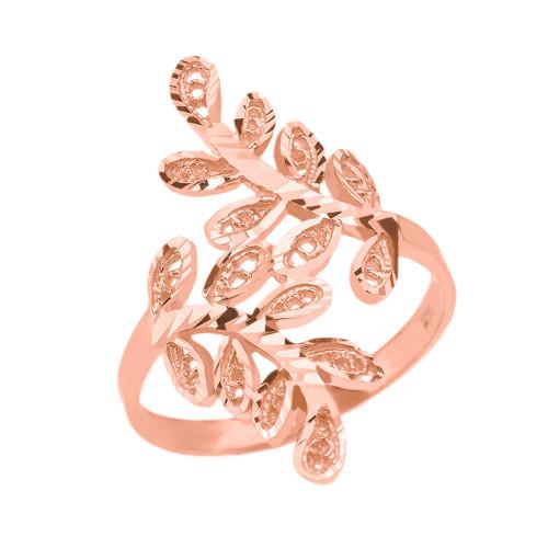 Rose Gold Diamond Cut Filigree Curved Laurel Wreath Ring