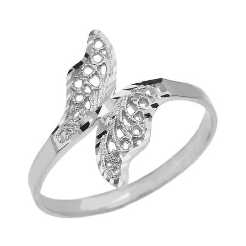 White Gold Diamond Cut Filigree Unique Leaf Wrap Ring