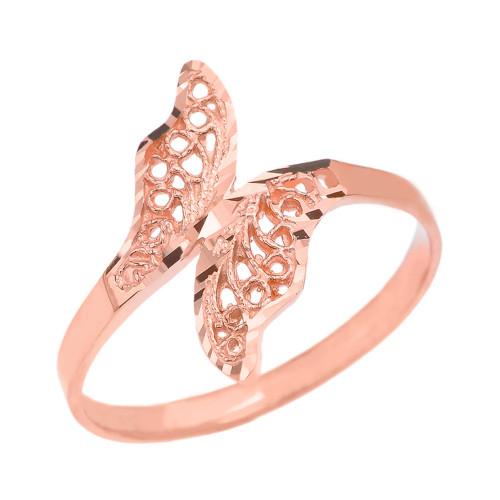 Rose Gold Diamond Cut Filigree Unique Leaf Wrap Ring