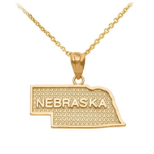Yellow Gold Nebraska State Map Pendant Necklace